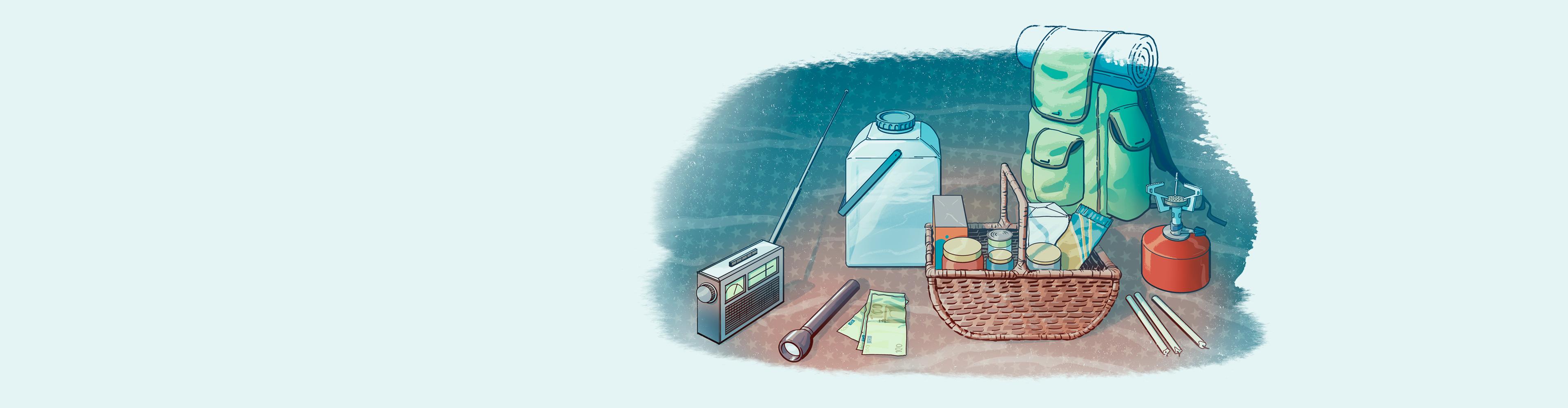 Radio, retkikeitin, vesipullo, taskulamppu ja ruokaa.