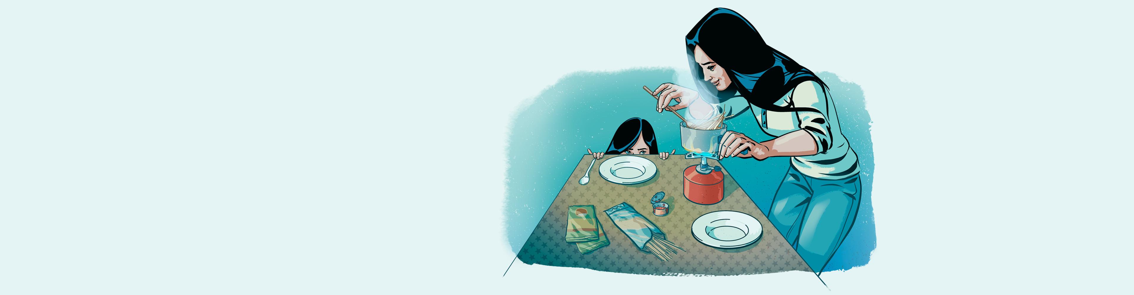 Nainen valmistaa ruokaa retkikeittimellä.