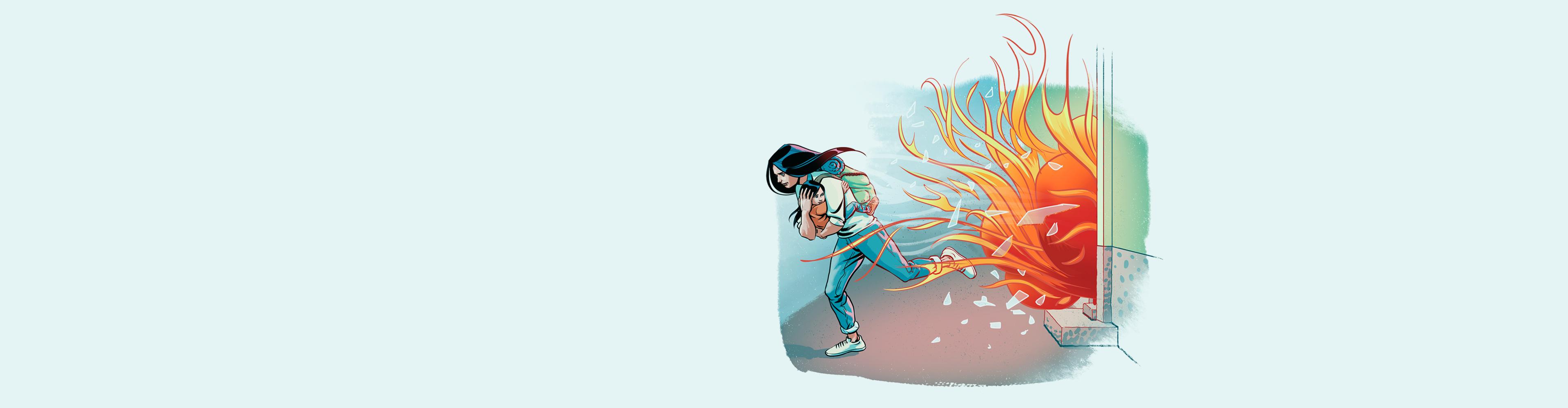 Nainen juoksee lapsi sylissä tulipaloa pakoon.