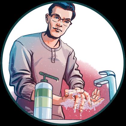 Mies pesee käsiään.