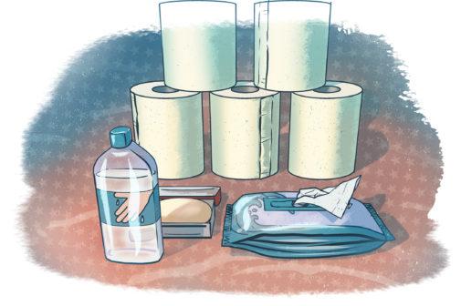 VToalettpapper, tvål, handhandskar, våtservetter.