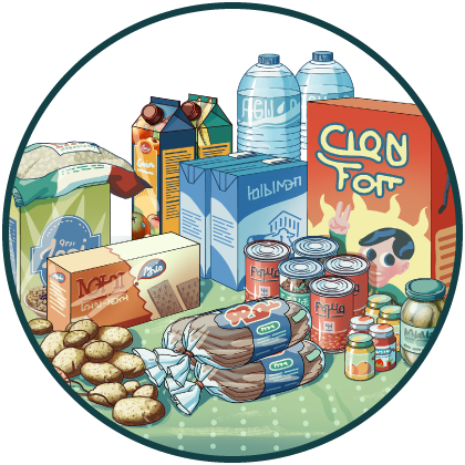 Säilykkeitä, perunoita, leipää, vesipulloja, mehutölkkejä, näkkileipää, makaronia.