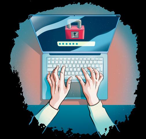 Fingrar på bärbar datorns tangentbord.