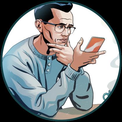Mies lukee jotain matkapuhelimensa ruudulta.